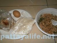 イサーン屋台飯ラーブムー、揚げ春巻き、カオニャオ、ゆで卵