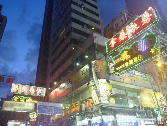 香港旺角夜景ネオンサイン