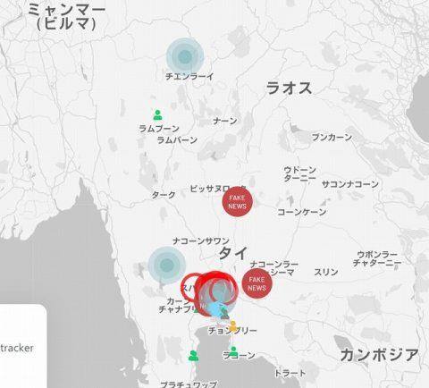 タイ感染オンラインマップ COVID-19 News Tracker (2)