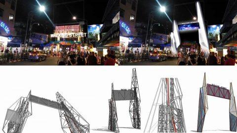 ウォーキングストリート屋根Pattaya市 (4)