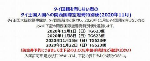 11月タイ行き特別便とSTVと観光ビザ追加 (2)